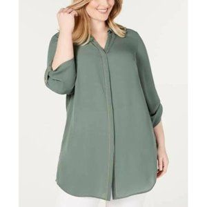 NWT JM Collection Green Beaded Utility Blouse Top